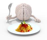 脑子用手,在意粉盘前面的叉子 免版税库存图片