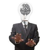 脑子电灯泡光象素符号 免版税图库摄影