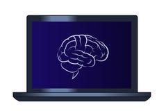 脑子的标志在便携式计算机上的 图库摄影