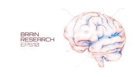 脑子研究未来派医疗ui 智商测试,人工智能真正仿效科学技术 库存例证