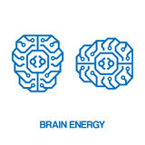 脑子能量标志 免版税库存照片