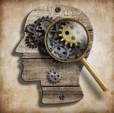 脑子齿轮和嵌齿轮 精神病,心理学 库存图片