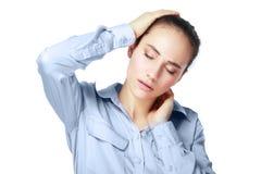 脖子和头痛苦 免版税库存照片