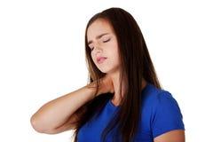 脖子痛概念 免版税图库摄影