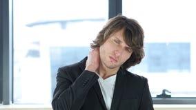 脖子痛,疲乏的人 股票视频
