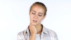 脖子痛,疲乏的困女孩,白色背景画象  免版税库存照片