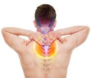脖子痛-在白真正隔绝的男性疼的子宫颈脊椎 免版税图库摄影