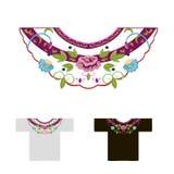 脖子的装饰绣与玫瑰花蕾 库存图片
