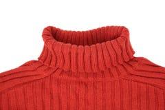 脖子红色毛线衣 免版税库存照片