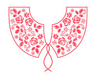 脖子线与花传染媒介的刺绣设计 库存图片