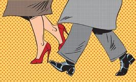 脚供以人员,并且妇女鞋子变坏天气街道流行音乐 向量例证