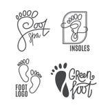 脚剪影 健康中心商标,矫形沙龙 标志赤脚 向量例证