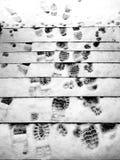 脚印冬天 库存图片