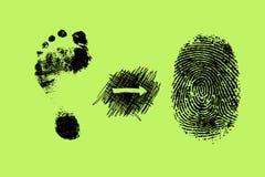 脚印刷品和指纹 免版税库存照片