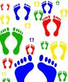 脚印刷品数字式便条纸 库存图片