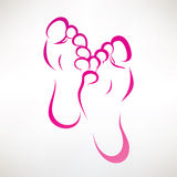 脚印刷品被概述的标志 库存照片