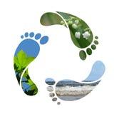 脚印回收符号 免版税库存照片
