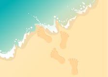 脚印沙子向量 库存照片