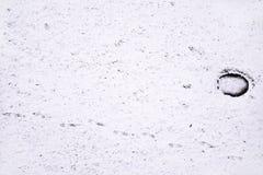脚印雪时间冬天 免版税库存图片