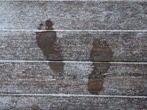 脚印雪 免版税库存图片