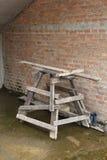 脚手架建筑的木阶段 免版税库存图片