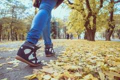 脚走在秋天叶子的运动鞋 免版税库存图片