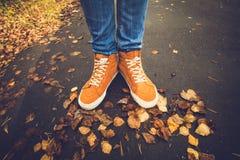 脚走在秋天的运动鞋留给室外 免版税库存图片