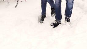 脚走的夫妇特写镜头在雪的在森林里 股票视频
