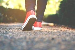 脚走的妇女在公园 库存图片