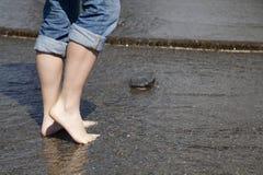 脚趾水 免版税图库摄影