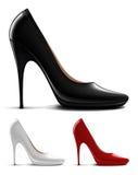 脚跟高多彩多姿的鞋子 库存照片