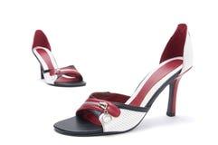 脚跟高皮革对鞋子 库存图片