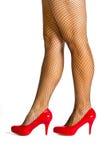 脚跟高红色穿上鞋子储存 库存图片