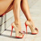 脚跟高行程妇女 免版税库存照片
