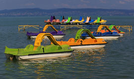 脚蹬小船在巴拉顿湖 库存图片