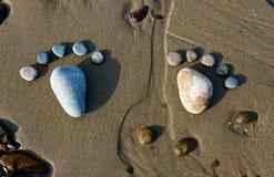 脚,小卵石,沙子,艺术,海滩 库存图片