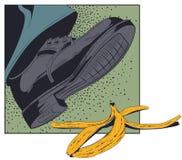 脚,滑倒的鞋子在香蕉果皮 E 向量例证