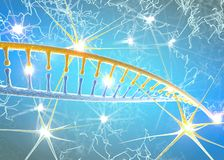 脱氧核糖核酸和神经元,脱氧核糖核酸更改结构,重写和连续的再生,神经细胞的增加的活动 库存例证