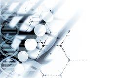 脱氧核糖核酸和医疗和技术背景 未来派分子s 库存图片