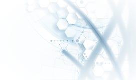 脱氧核糖核酸和医疗和技术背景 未来派分子s 免版税库存图片
