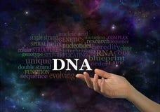 脱氧核糖核酸在外层空间背景的词云彩 免版税图库摄影
