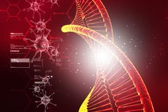 脱氧核糖核酸结构的数字式例证与病毒的 免版税库存图片