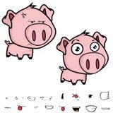 脾气坏的矮小的大顶头猪动画片表示集合 免版税库存图片