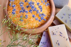 腌制槽用食盐和肥皂 库存照片