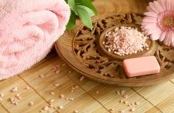 腌制槽用食盐肥皂毛巾 库存照片