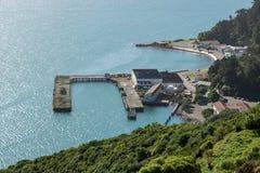 腐朽的老挖土工基地码头在米拉马尔新西兰 库存图片