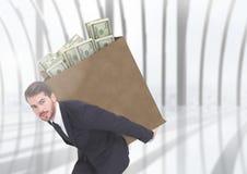 腐败商人运载的箱子用束美元填装了 免版税图库摄影