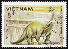 腕龙,系列致力了于史前动物,大约1984年 库存照片