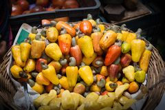 腰果果子篮子在地方市场上 图库摄影