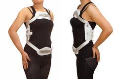 腰部jewet括号、伸直过度括号后面truma的或frac 图库摄影